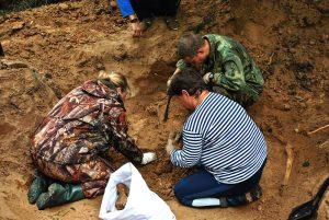Эксгумация захоронения требует тщательной и кропотливой работы по перебору земляных отвалов и расчистке костных останков