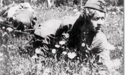 Гв. старшина 1 гв. мсд Елена Ковальчук выносит раненого с поля боя, фото 1942 года. Фото С.Косырева