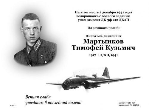Памятная табличка на месте гибели лётчика Мартынкова Т.И.
